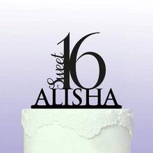 Decoração do bolo de aniversário do topper do bolo de aniversário do nome personalizado do bolo de aniversário do doce 16