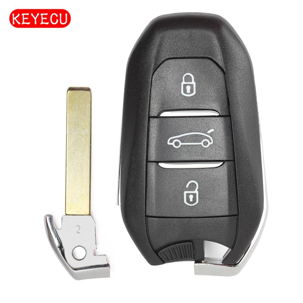 Keyecu умный сменный дистанционный ключ 3 кнопки Fob 434 МГц 4A чип для Peugeot 508 308 408 4008 301, для Citroen C4L C Quatre
