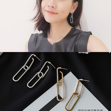 Hot style geometric pendant earrings double retro female day simple personality temperament long