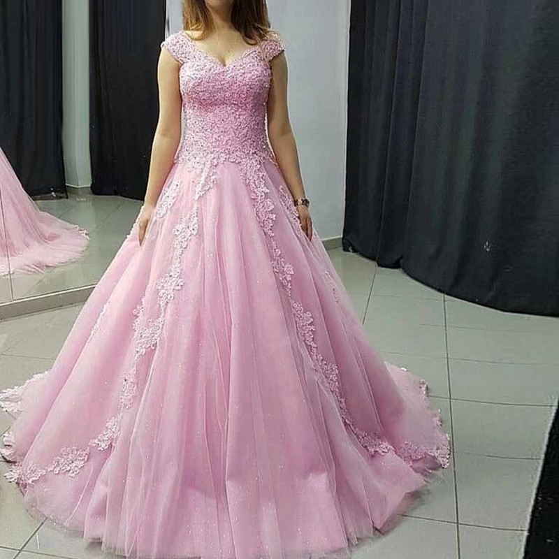 Sparkly Pink Tulle Prom Dresses Woman 2019 With Beading Long Arab Evening Party Gowns Applique Lace Plus Size robe de soiree
