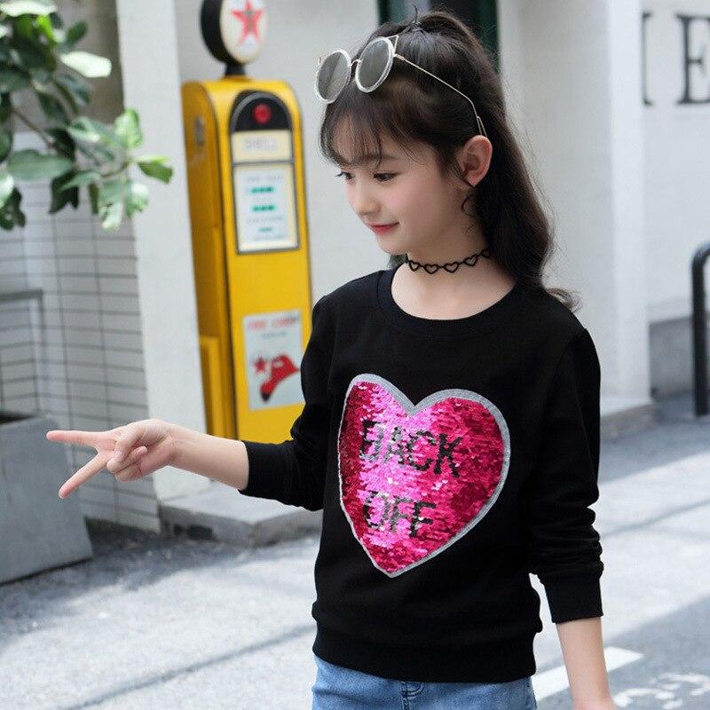 Hot Sale New 2018 Autumn Girls O Neck Long Sleeve Heart Printing Black Hoodies Tops Children Baby Geometric Sweatshirt Pullover long sleeve v neck pumpkin print halloween sweatshirt