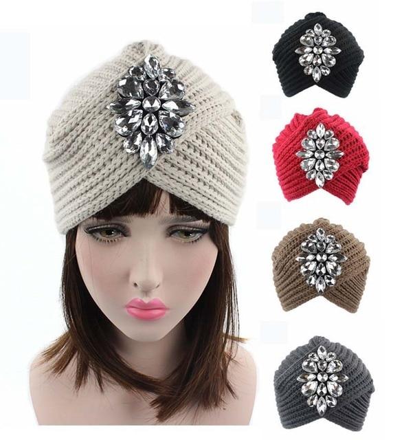 28aa4e314ed NEW Winter Fashion Bling Beanie Hat Rhinestone Knit turban Skully Cap Clear  Rhinestone Jewelry Brooch Turban