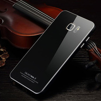For Samsung Note 5 Luxury Metal Aluminum Frame Tempered Glass Back Cover Case For Samsung Galaxy