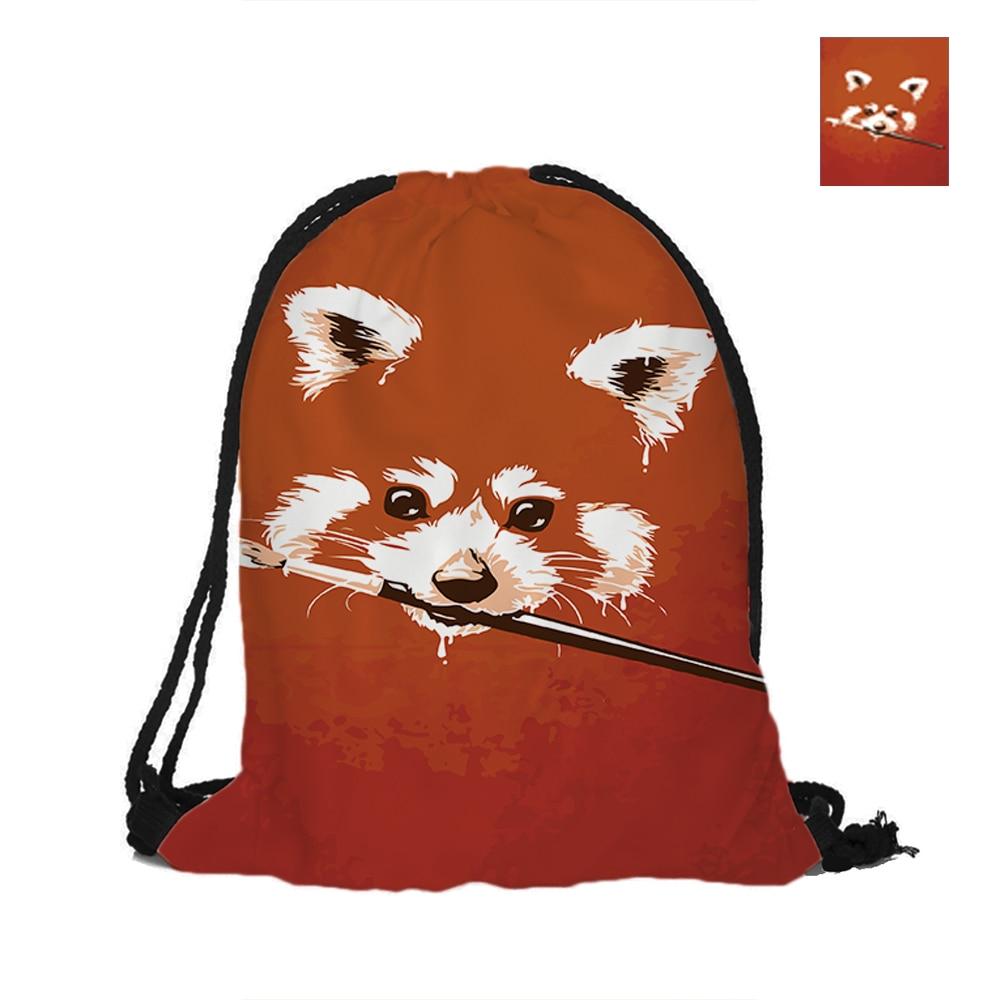 Милые еноты узор печать drawstring Сумки рюкзак с принтом с двойными бортами для женщина девушка человек Школы Путешествия используется