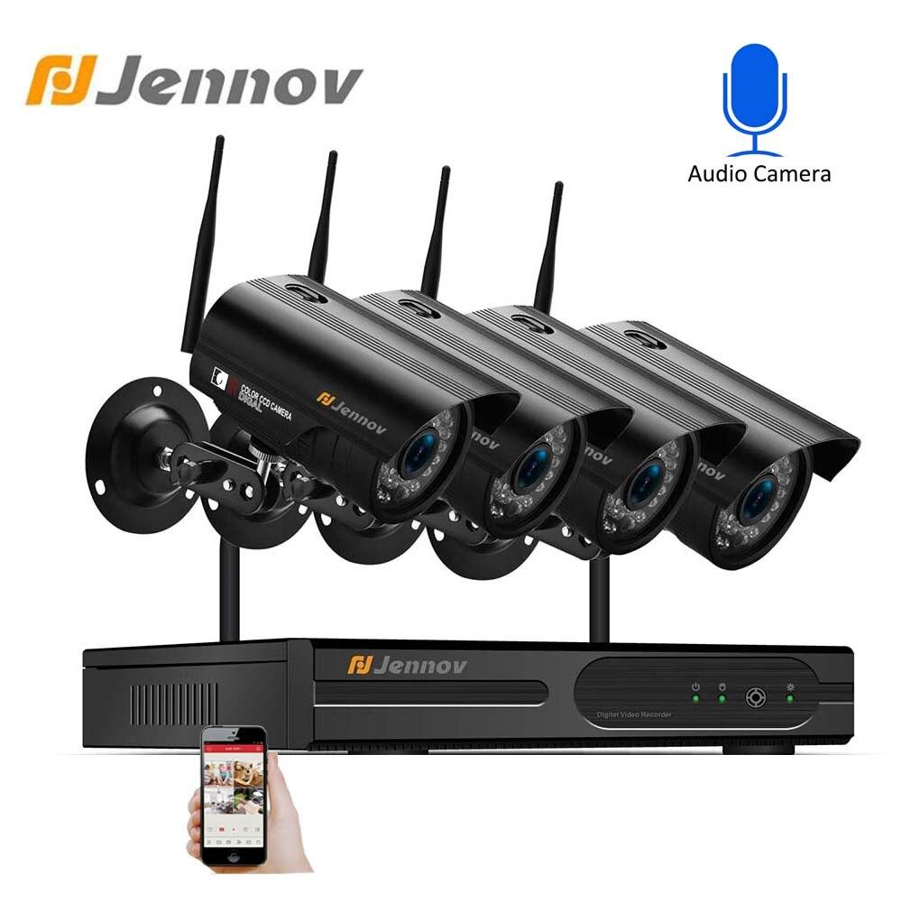 Jennov Vidéo Surveillance NVR 4CH 1080 P DVR de Sécurité À Domicile CCTV Sans Fil Wifi Extérieure Étanche IP Système de Caméra de Sécurité kit