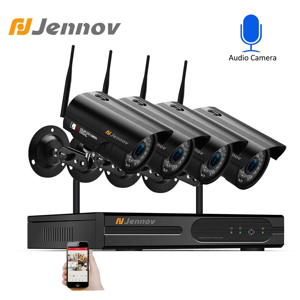 Jennov Video Surveillance NVR 4CH 1080P DVR Home Security CCTV Wireless Wifi Outdoor Waterproof IP Security Camera System Kit