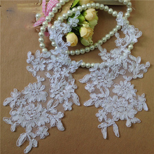 10 pcs(5 mirror pairs) Venise Craft Lace Patch Handmade DIY Embroidery Venice Red Applique Flower Motif TT255