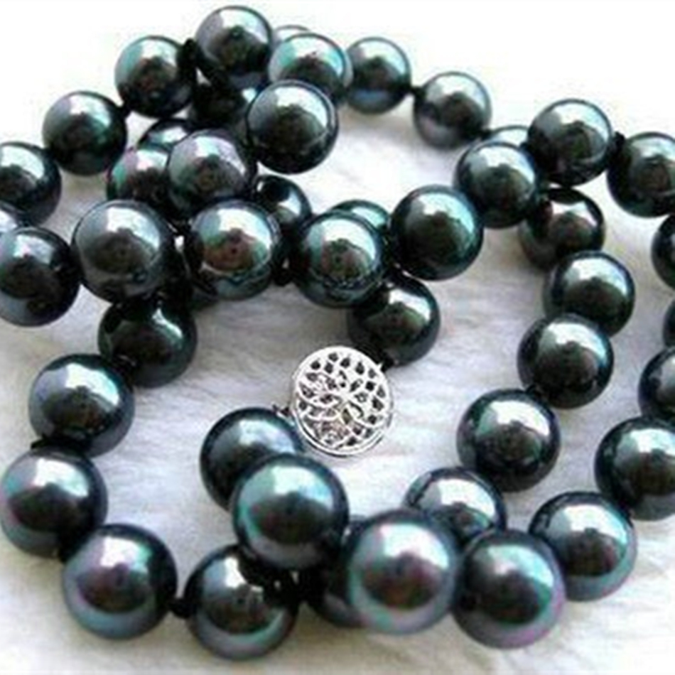 Fashion 10mm natural black shell pearl round beads necklace for women high grade weddings party gifts fine jewelry 18inch MY2022