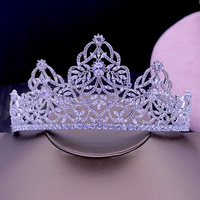 Luxury Big Tiaras and Crown Handmade AAA Cubic Zirconia Tiaras Women Bridal Hair Accessories Wholesale Price H 034