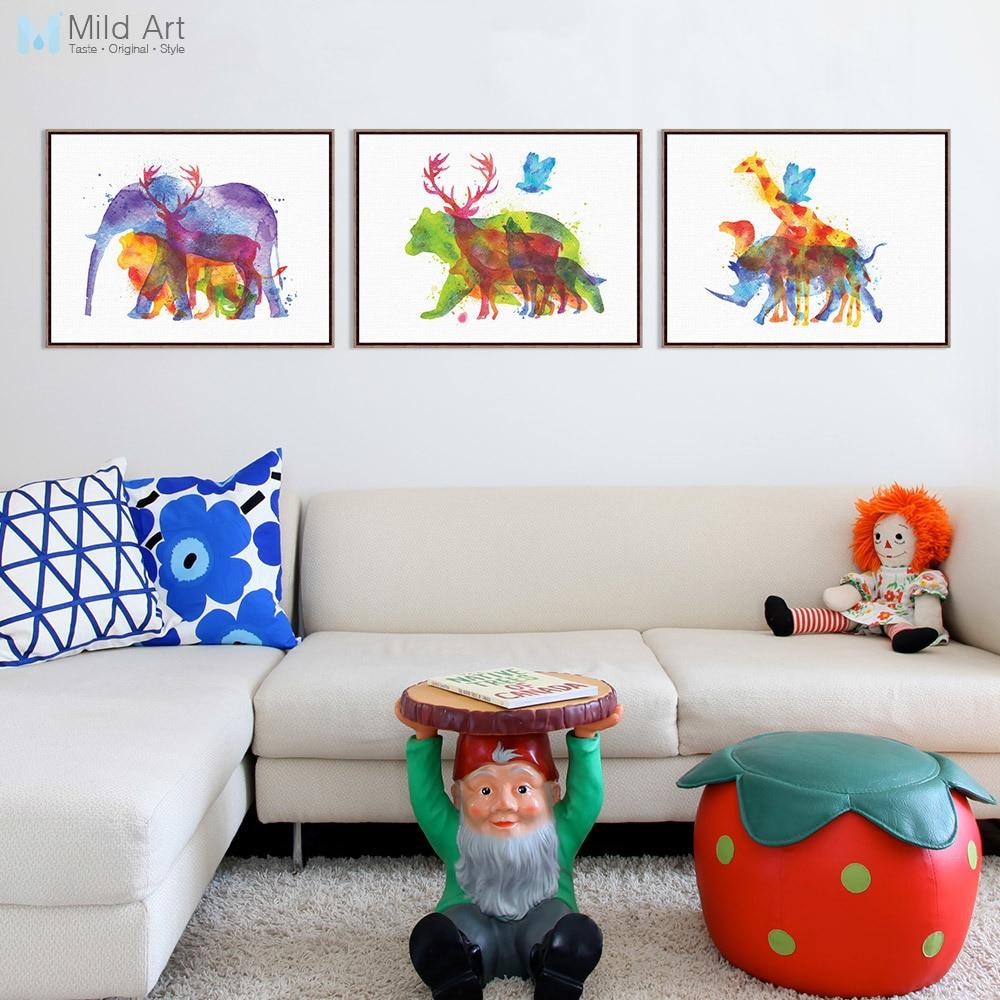 Triptych Akvarelu Zvířata Silueta Jelen Žirafa Slon Umělecká reprodukce Plakát Nástěnný obraz Obraz na plátně Vlastní dekorace domů