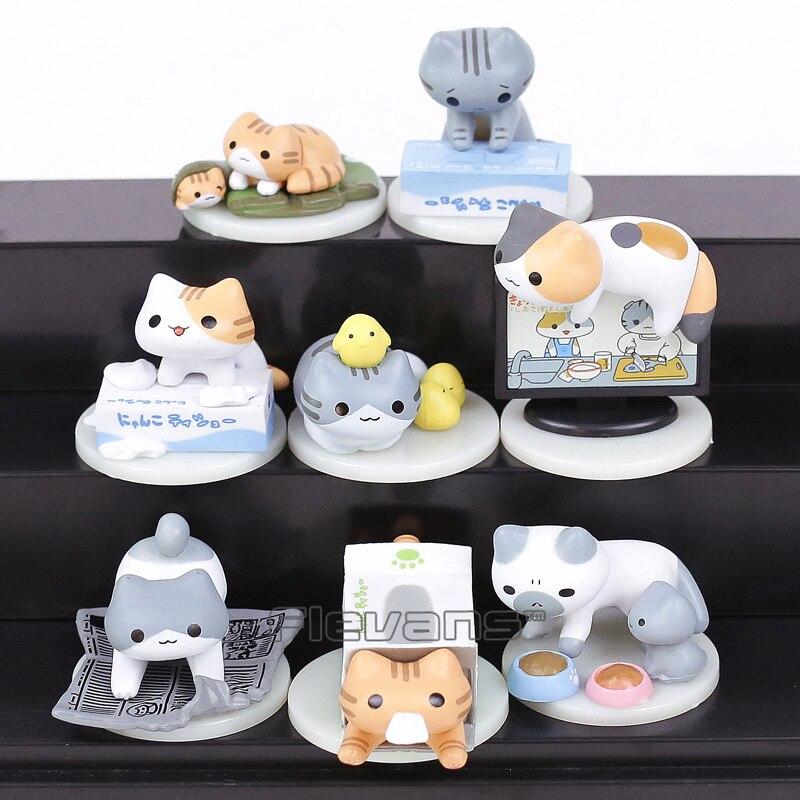 Anime Cartoon Nekono Kyuujitsu Neko Atsume Cute Lovely Cats Model Toys Mini PVC Figures Girls Toys Gifts 8-pack cute south park mini display figure toys 5 piece pack