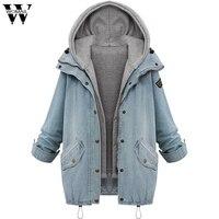 2017 Coat Winter Women Warm Collar Hooded Coat Jacket Denim Outwear Sep6