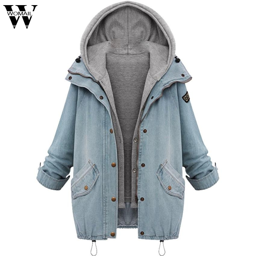 2017 Coat Winter Women Warm Collar Hooded Coat Jacket Denim Outwear Sep6