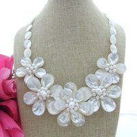 LJHMY Chunky White Pearl Mop Flower Statement Necklace Women Wedding Party Necklace Gift personalized necklace