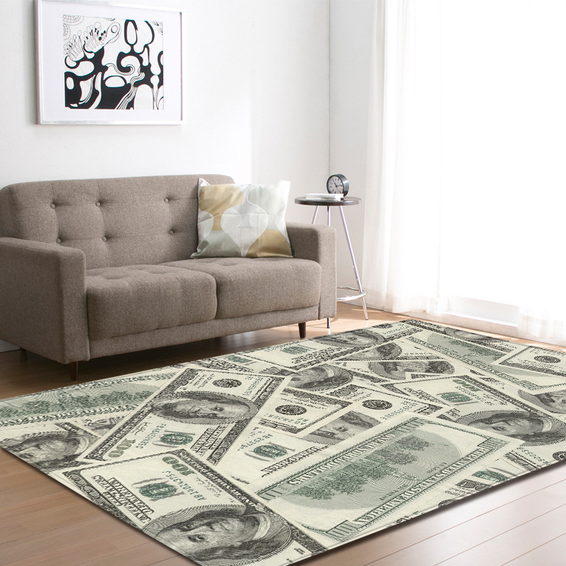 Vintage Money Skull Print Floormat Carpet Anti-Slip Blanket Hallway Thick Kid Play Mat Table Pad Livingroom Bedroom Home Decor