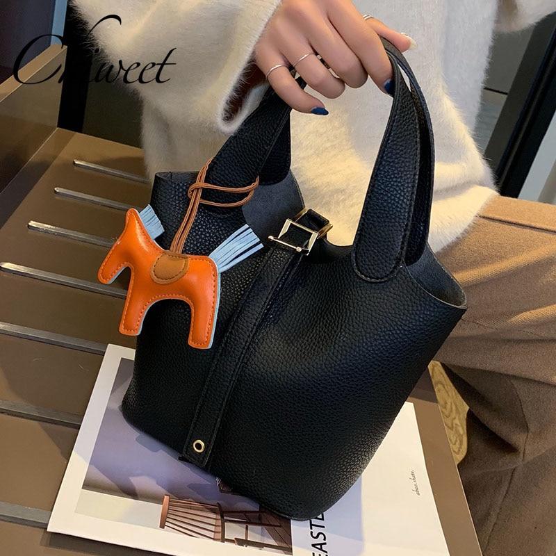 Luxury Handbags Women Bags Designer Pony Bucket Bag Ladies Casual Leather Handbags Famous Brand Female Tote Composite Bags 2 Set