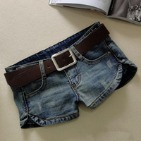 New denim shorts women summer fashion low waist elastic sexy women split jeans shorts