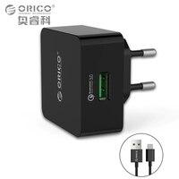 ORICO QC3.0 Telefon Ładowarka Szybkiego Ładowania 18 W Szybka Ładowarka USB dla iPhone Samsung Xiaomi Huawei z Bezpłatnym Micro USB kabel