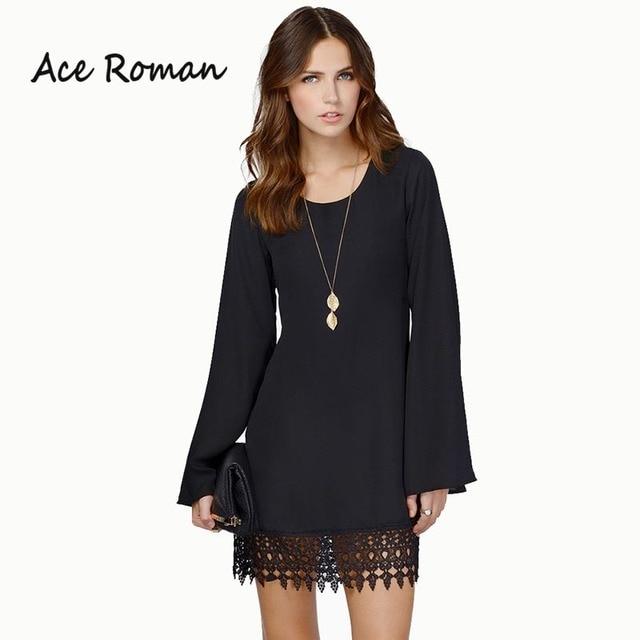 7300d2ff13d3 Ace Roman Women Chiffon Shift Dress Crochet Lace Hem Top Quality Dress Long  Sleeve Midi Dresses Party Wear Black Vestidos HD1963