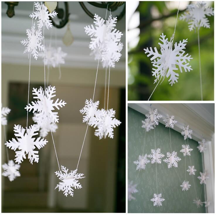 3Meters Artificial snow Frozen white Snowflakes wall Hanging Paper string decor For Party/ Wedding /Christmas Decoration