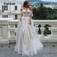 Eightal Boho Hochzeit Kleid Strand Schatz Weg Von der Schulter Prinzessin Hochzeit Kleider Appliques Spitze Tüll Romatic Braut Kleid