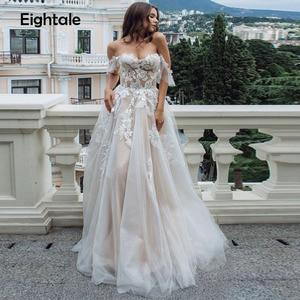 Image 1 - Eightal boho 웨딩 드레스 비치 아가씨 어깨 공주 웨딩 드레스 아플리케 레이스 tulle romatic bridal dress