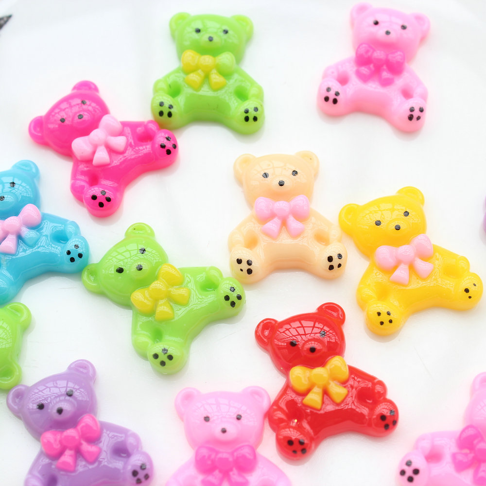 200pcs Mixed Colors Bears Resin Decoden Kawaii Flatback Cabochon 24mm Lovely Printed D25 Beads & Jewelry Making