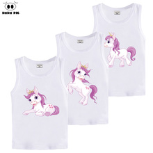 DMDM PIG Children 3D Printed Unicorn T Shirt Summer Baby Girl Kids Clothes Anime Tshirt White Sleeveless T-Shirts For Boys Girls