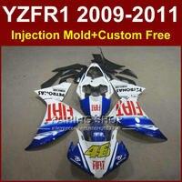 FIAT 46 Мотоциклов синий белый запчасти для YAMAHA обтекатели YZF R1 09 10 11 12 R1 кузова YZF1000 R1 + 7 Подарков YZF R1 2009 2010 2011