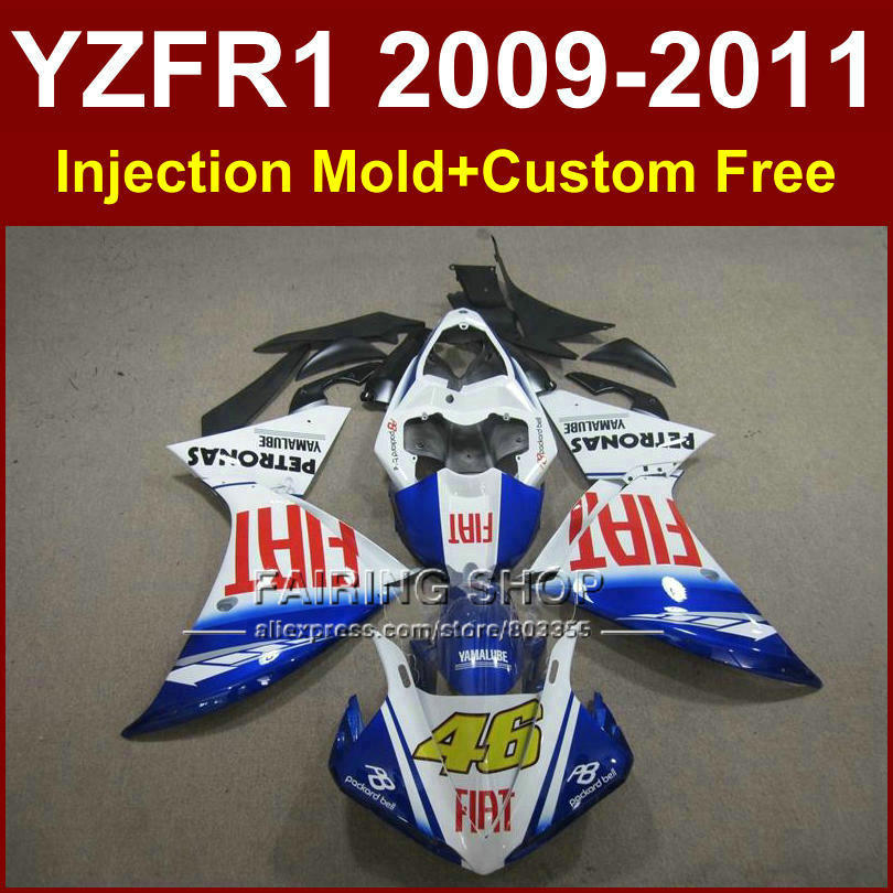 FIAT 46 Motorcycle blue white parts for YAMAHA fairings YZF R1 09 10 11 12 R1 bodyworks YZF1000 R1 +7Gifts YZF R1 2009 2010 2011 tamiya 1 12 yamaha motorcycle model yzr m1