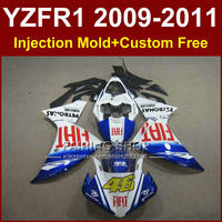 FIAT 46 Motorcycle blue white parts for YAMAHA fairings YZF R1 09 10 11 12 R1 bodyworks YZF1000 R1 +7Gifts YZF R1 2009 2010 2011