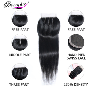 Image 4 - Brazilian Hair Weave Bundles With Closure Human Hair Bundle Straight 3 Bundle With 4x4 Lace Closure Remy Hair 8 30 inch BIGSOPHY