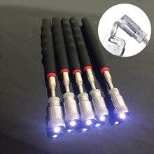 1 шт. телескопические регулируемые магнитные инструменты для подхвата с светодиодный светильник, магнит с длинной выдвижной длинной высотой 70 см
