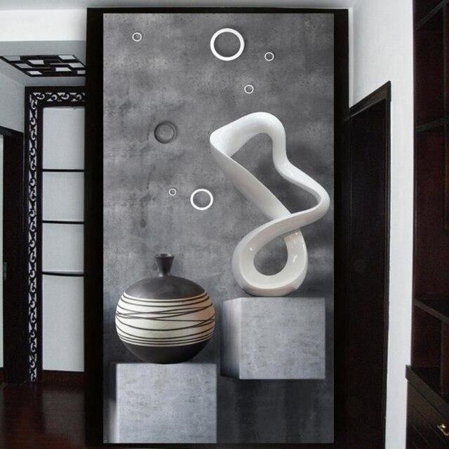 Benutzerdefinierte HD 3D Fototapeten Tapete Moderne Kreative Malerei 3D  Wohnzimmer Eingang Badezimmer Tür Flur Hintergrund Wand