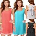 2017 nova moda feminina causal chiffon vestidos sem mangas o pescoço solto mini vestidos de verão sólidos vestidos l790
