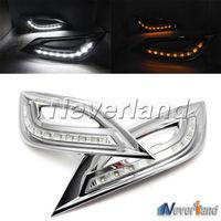 2x Daytime Running Light LED DRL Daylight Head Lamp Turn Signal For Sonata 11 13