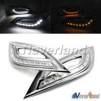 2x Daytime Running Light LED DRL Daylight Head Lamp Turn Signal For Sonata 11 13