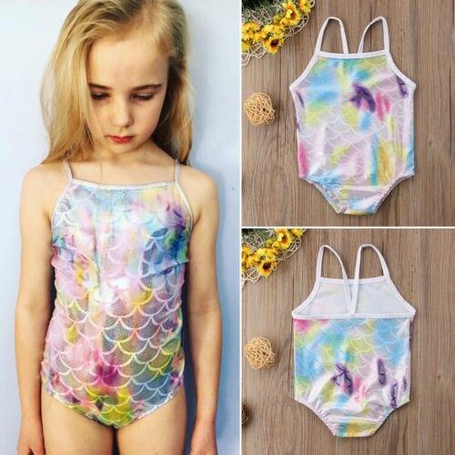 c0d9399b1 Lovely Newborn Infant Kids Baby Girls Bikini Swimwear 7 colour Rainbow  scales 1 PC Swimsuit Bathing Suit Princess Tankini UK