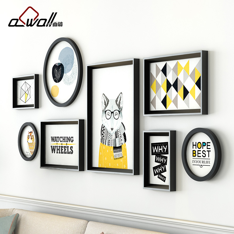 Collage Frames Modern Round Photo Frames For Picture Sofa Background ...