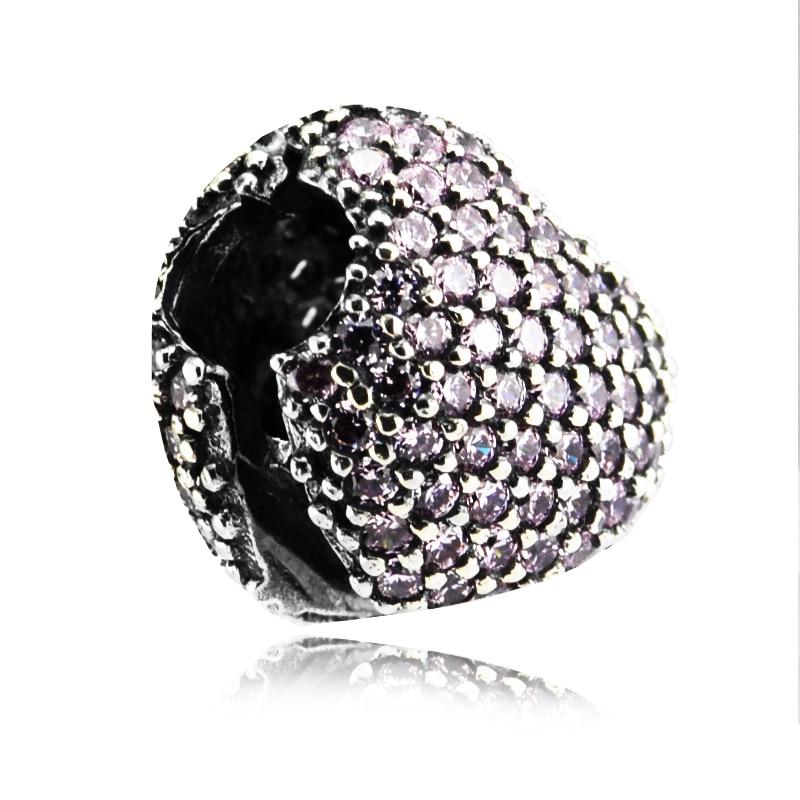 498d2a422bca Se adapta para Pandora pulseras Pave abrir mi corazón Clips perlas con Rosa  CZ 100% de la joyería de la plata esterlina 925 DIY encantos envío Gratis