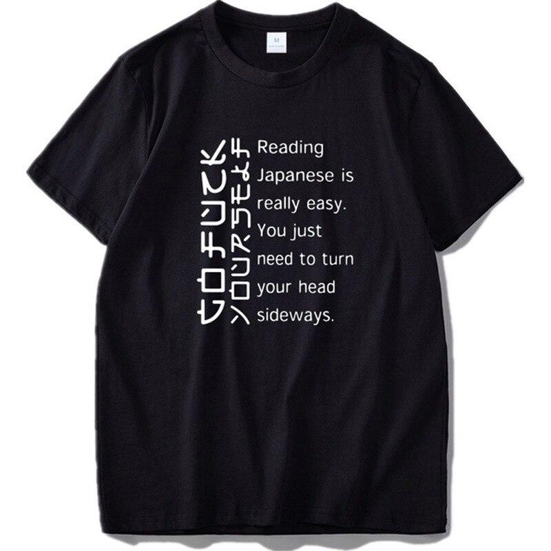 Japanese T shirt Men Funny Cotton EU Size High Quality Casual Top Black O-neck Short Sleeve Tee Japan Tshirt