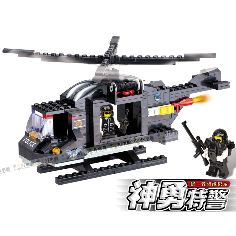 WOMA C9703 214 pcs SWAT Helicopter Model Building Block Sets Children's Educational Toys gift for kids free shipping