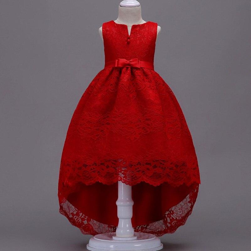 Платье с цветочным узором для девочек; Пышные свадебные вечерние платья с красным прицепом для девочек; кружевное вечернее платье принцессы для первого причастия - Цвет: red