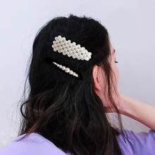 Fashion Faux Pearl Metal Snap Barrette Women Hair Side Clip Hairpin Headwear(China)