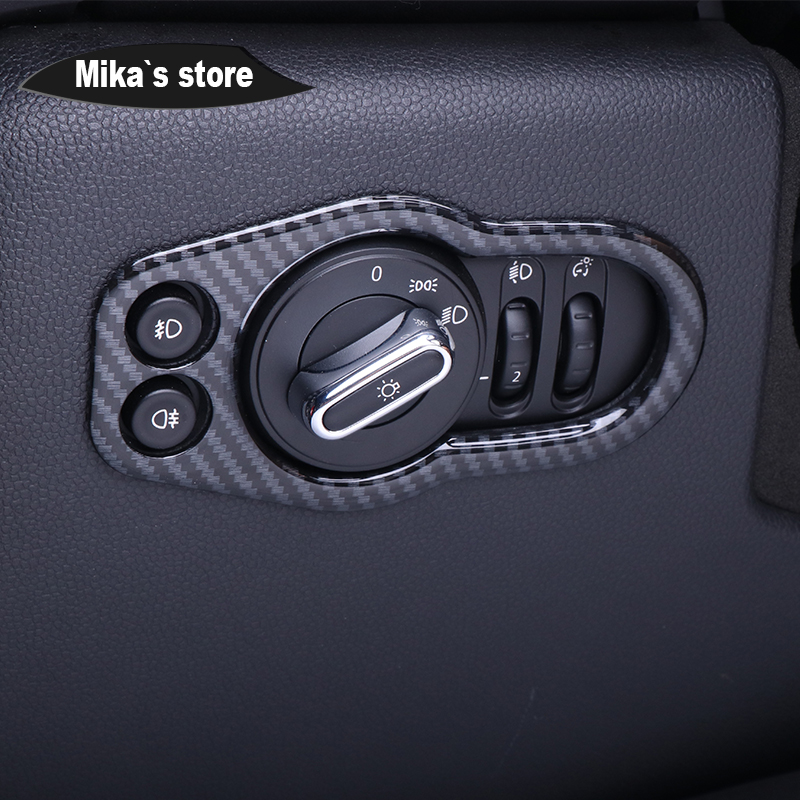 Купить с кэшбэком Auto Whole Internal Cover Decoration Carbon Fiber Grain Housing Case Window Handle Outlet Cover Sticker For mini cooper F55 F56