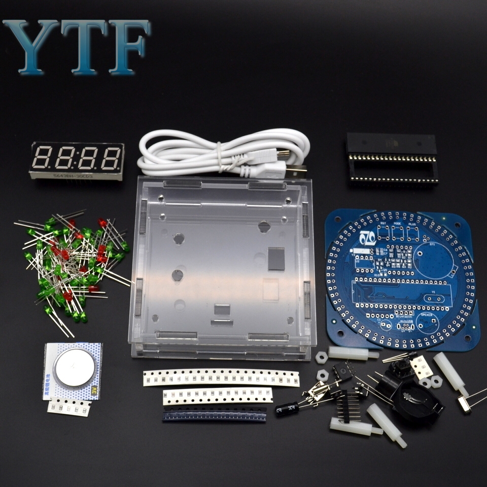 Display Module Alarm Electronic Digital Clock LED Temperature Display DIY Kit Learning Board 5V With Shell DS1302 Digital LED