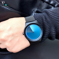 Men S Gift Enmex Special Design Wristwatch Creative Stainless Steel Vortex Fashion Gradient Color Young Peoples
