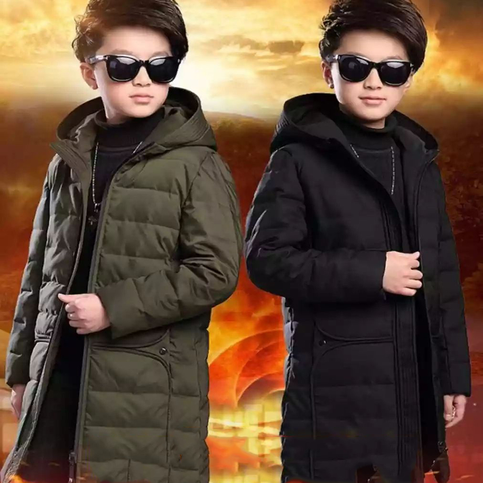 Baby Boys Winter Clothes Solid Color Fashion Boys Outerwear Coats Hooded Long Style Cotton Coat For 3 4 6 8 10 12 13Yrs Parkas