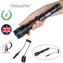Uniquefire Led Light 1508-38mm-XRE 300LM Green/Red/White Light 3 Modes Zoom Focus LED Flashlight+Remote Pressure To Remote Hunt(China)