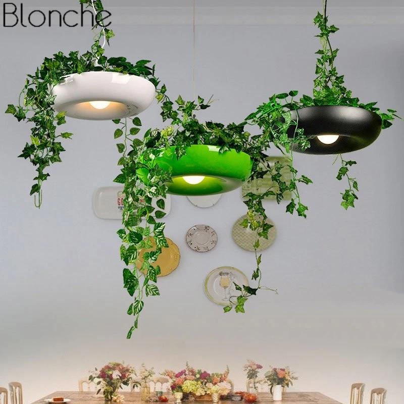 Modern Plant Pot Pendant Lamp Nordic Dining Room Hanging Light Fixture Diy Potted Shade Luminaire Office Home Art Decor Lighting Pendant Lights Aliexpress